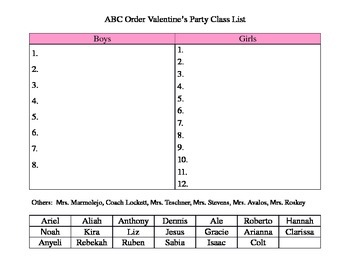 ABC Order Valentine's Party Class List