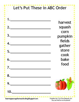 ABC Order Worksheet - Fall Themed - Pumpkin