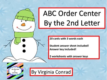 ABC Order by the Second Letter--Center and Worksheets--Win
