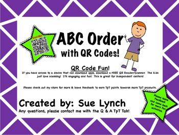 ABC Order for INDEPENDENT word work using QR CODES Great f