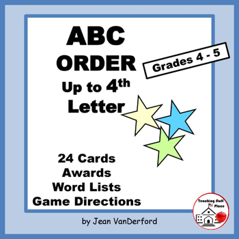 Alphabetical Order | ABC to 4th Letter | Task Cards | Voca