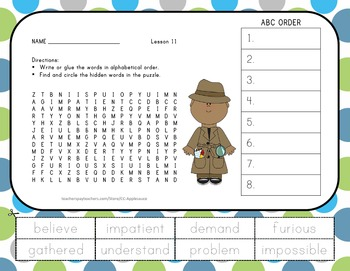 Journeys 2nd Grade Unit 3 Vocabulary - ABC Order with Word