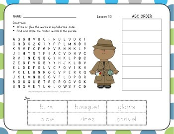 ABC Order with Word Search - Seasons - 1st Grade Lesson 13
