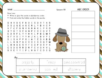 Word Search with ABC Order - Where Does Food Come From? -