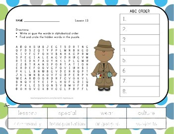 ABC Order and Word Search - Schools Around the World - Jou