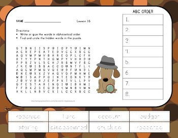 ABC Order and Word Search - Mr. Tanen's Tie Trouble - 2nd
