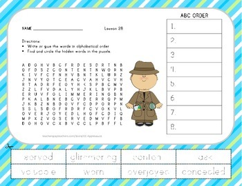 ABC Order and Word Search - Yeh-Shen - 2nd Grade Lesson 28
