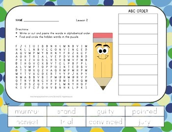 Word Search with ABC Order - The Trial of Cardigan Jones -