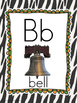 Alphabet Poster Wall Cards Border Zebra Print