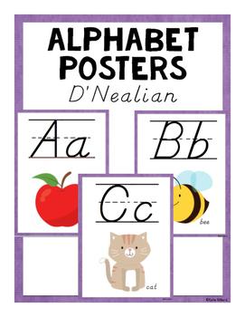 ABC Posters (D'Nealian) - Purple