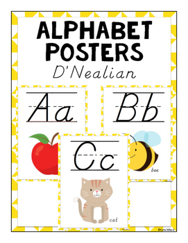 ABC Posters (D'Nealian) - Yellow
