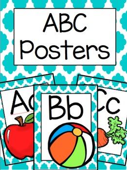 ABC Posters (Teal Quatrefoil)