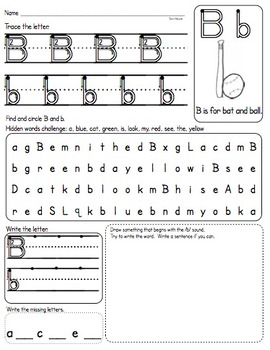 ABC Practice Pages A through Z (Upper and Lowercase) Diffe