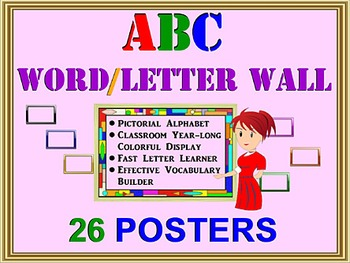 ALPHABET WORD WALL: 26 A-Z Posters, Fast ABC Learner, Voca