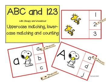 ABC and 123: Alphabet and Counting Clip Cards with Snoopy