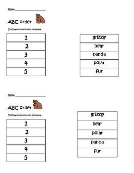ABC order (bear themed alphabetical order)
