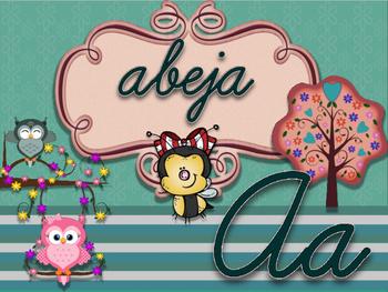 ABC owl cursivo espanol