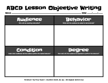 ABCD Lesson Objective Writing