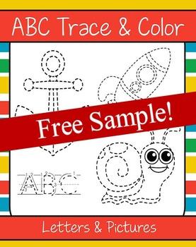 ABCs Trace and Color (NO PREP) - FREEBIE