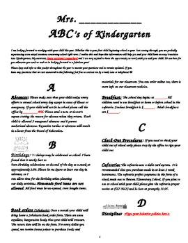 Back to School - ABC's of Kindergarten