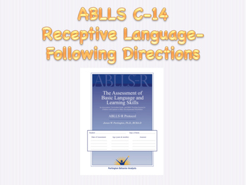 ABLLS-R C14: Receptive Language- Object Identification. No Prep!