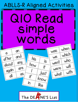 ABLLS-R ALIGNED ACTIVITIES Q10 Read simple word