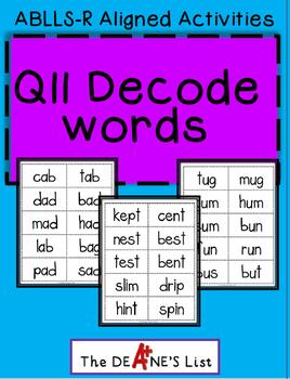 ABLLS-R ALIGNED ACTIVITIES Q11 Decode words