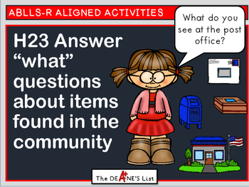"""ABLLS-R  ALIGNED H23 Answer """"what"""" questions about items f"""
