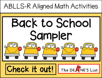 ABLLS-R ALIGNED MATH ACTIVITIES Back to School Sampler