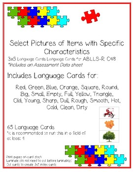 ABLLS-R C48 Select Specified Characteristics Module Cards