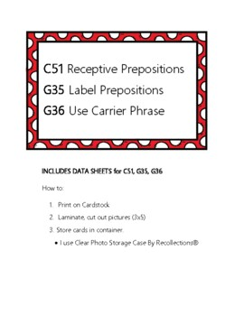 ABLLS-R C51 Prepositions Module Cards