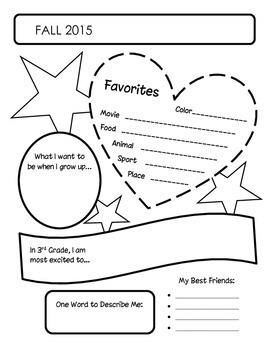 ABOUT ME Printables--grade 3