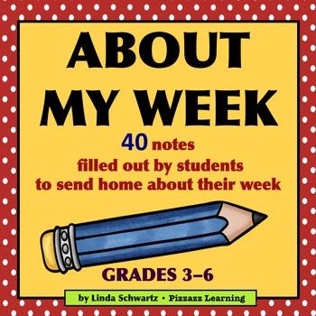 ABOUT MY WEEK • Grades 3–6