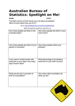 ABS Census Spotlight Task - Australia Demography Geography