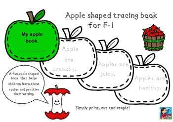 ACARA ACPPS006 Apple shaped tracing book F-1 Fruit Health