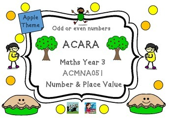 ACARA Apple Themed Maths ACMNA051 Odd & Even Numbers Year