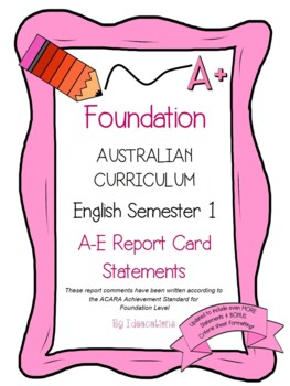 Australian Curriculum Report Comments Foundation English S