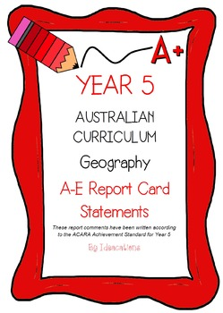 Australian Curriculum Report Comments Year 5 Geography