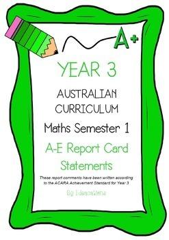 Australian Curriculum Report Comments Year 3 Maths Semester 1