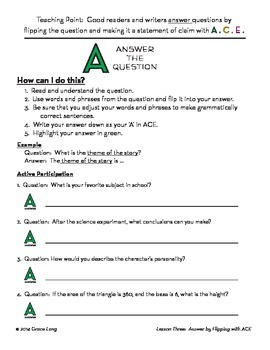 ACE Lesson Three:  Answering Questions with a Complete Sentence