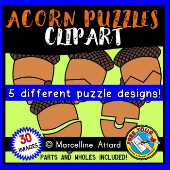 ACORN PUZZLES CLIPART:ACORN CLIPART PUZZLE TEMPLATES:FALL