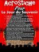 ACROSTICHE POUR LE JOUR DU SOUVENIR - French Remembrance D