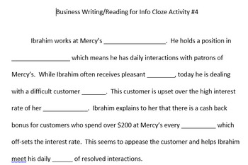 ACT Business WorkKeys Vocabulary Cloze Activity 4