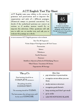 ACT English Test Tip Sheet