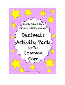 ACTIVITY PACK Decimal Math Stations for Common Core Sixth Grade
