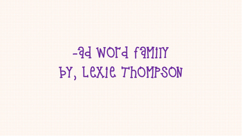 AD word family activities!