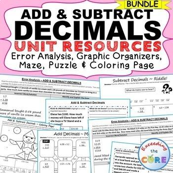 ADD AND SUBTRACT DECIMALS BUNDLE Error Analysis, Graphic O