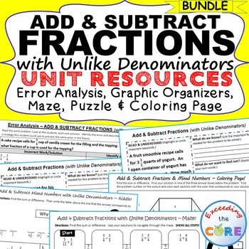 ADD & SUBTRACT FRACTIONS BUNDLE Error Analysis, Graphic Or