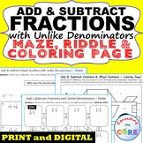 ADD & SUBTRACT FRACTIONS with UNLIKE DENOMINATORS Maze, Ri