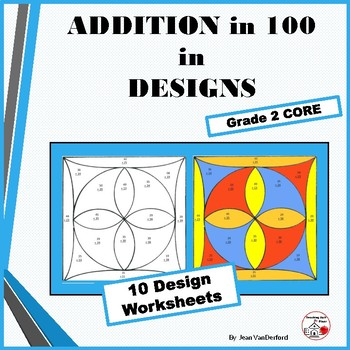 ADD to 100 Problems  Color by Number Geometric Design Work